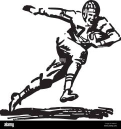 football player running with ball retro clipart illustration [ 1300 x 1377 Pixel ]