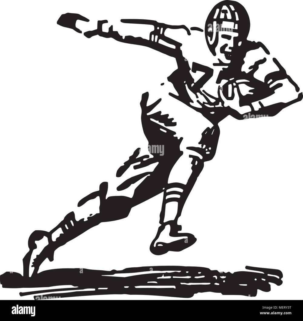 medium resolution of football player running with ball retro clipart illustration