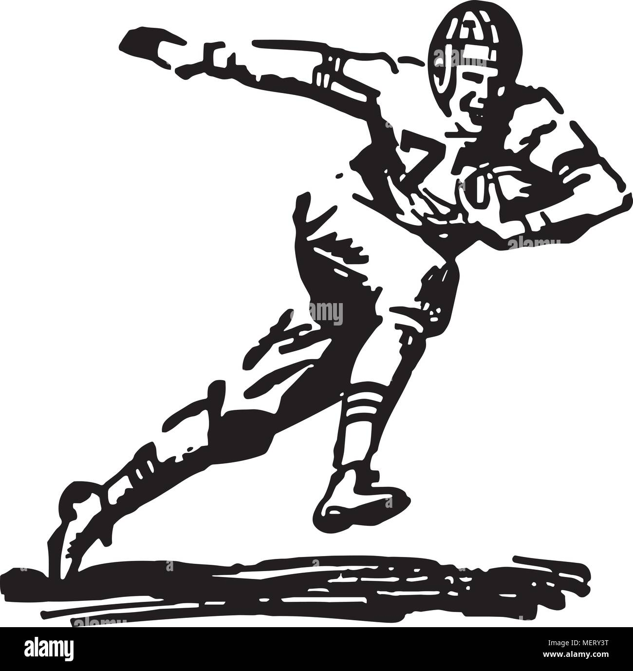 hight resolution of football player running with ball retro clipart illustration