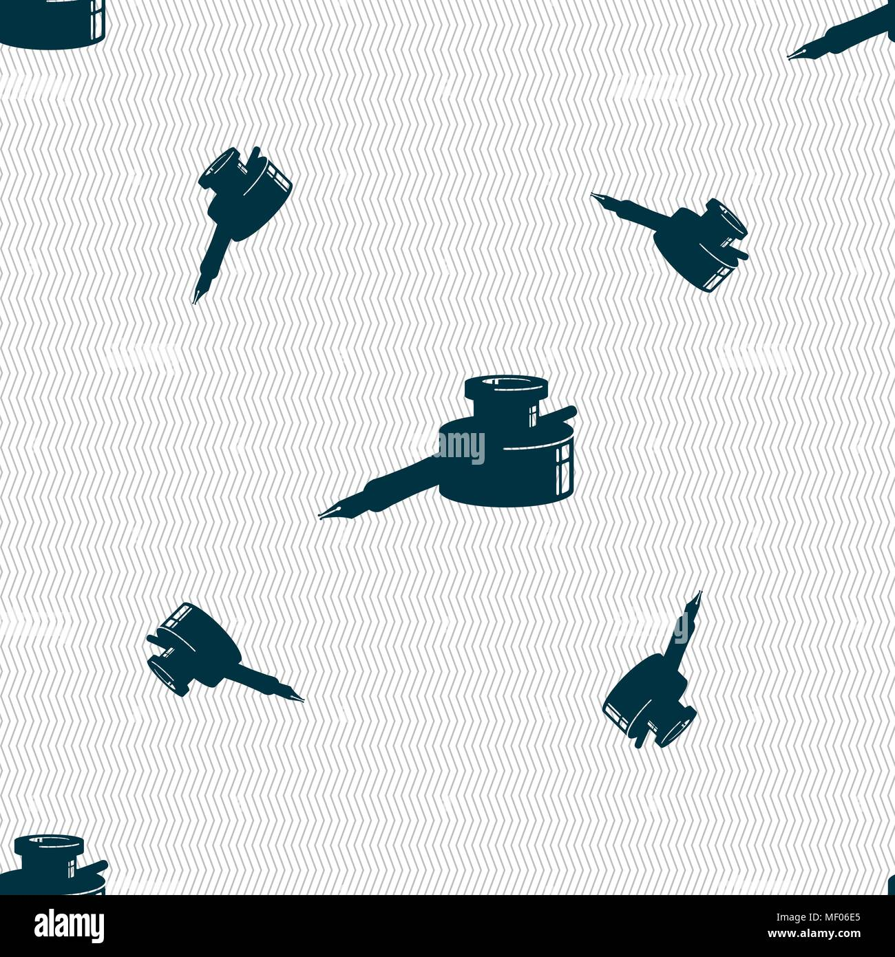 Pen And Ink Icon Sign Seamless Pattern With Geometric
