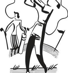 golfing couple retro clipart illustration [ 908 x 1390 Pixel ]