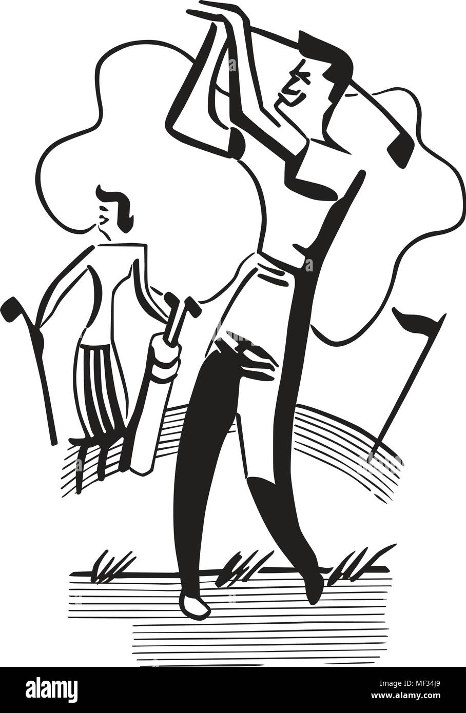 hight resolution of golfing couple retro clipart illustration