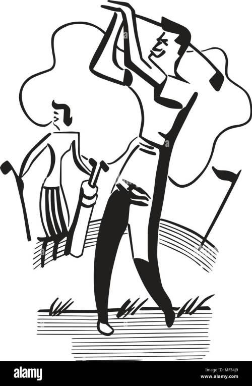 small resolution of golfing couple retro clipart illustration