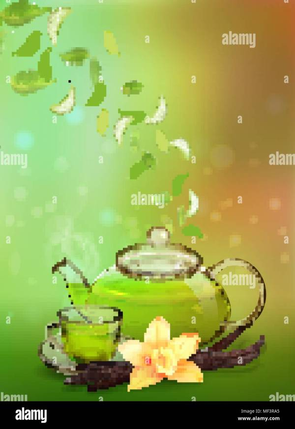 Tea Advertising Flyer Poster Banner Template. Green Ad With Leaves Glass Cup