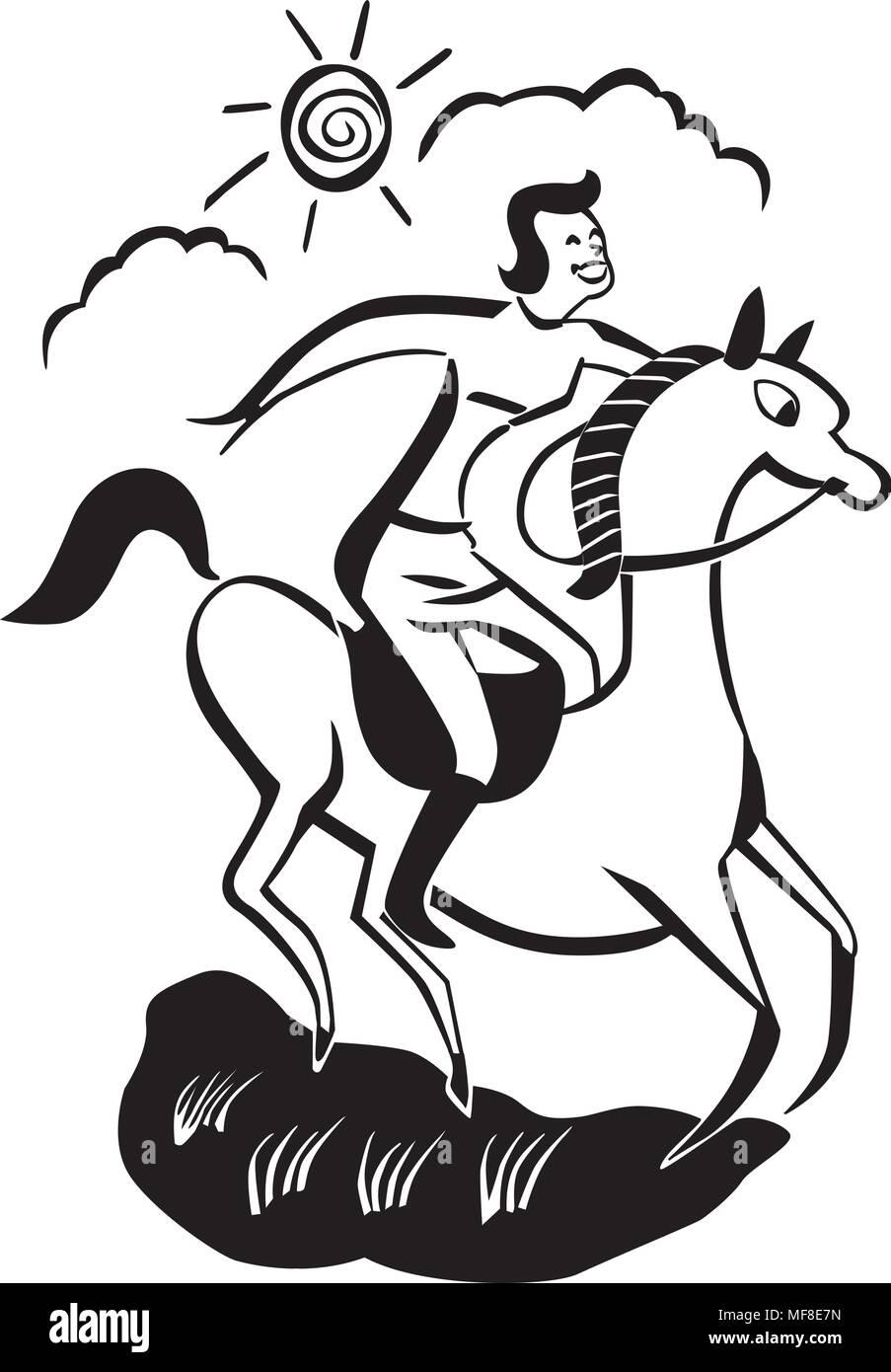 hight resolution of horseback rider retro clipart illustration stock vector