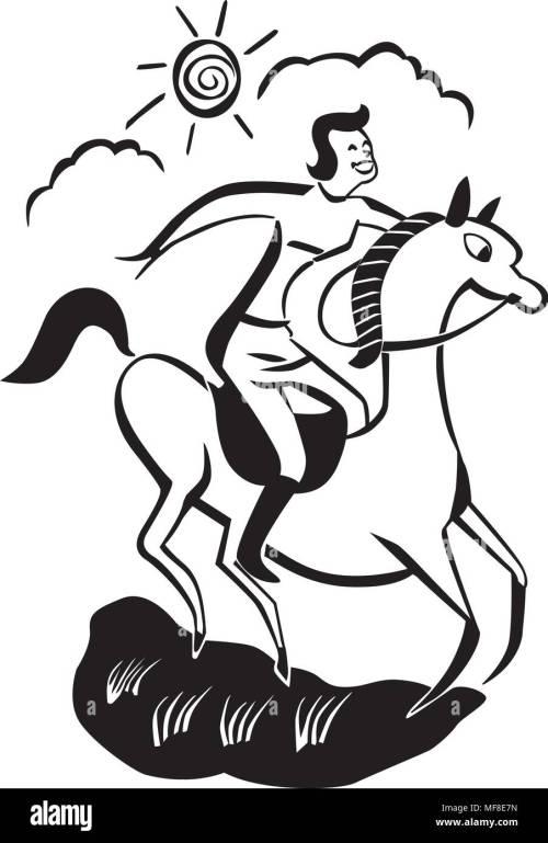 small resolution of horseback rider retro clipart illustration stock vector