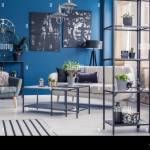 Plants On Shelves In Navy Blue Living Room Interior With