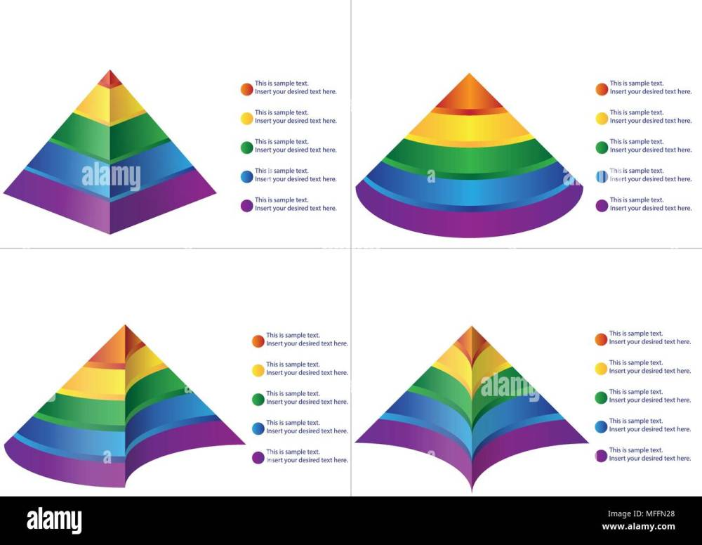 medium resolution of four different type of pyramid diagrams with five steps and legends