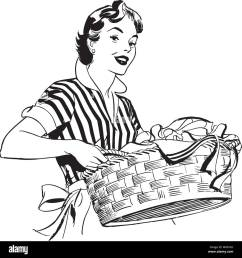 lady with laundry basket retro clipart illustration [ 1300 x 1380 Pixel ]