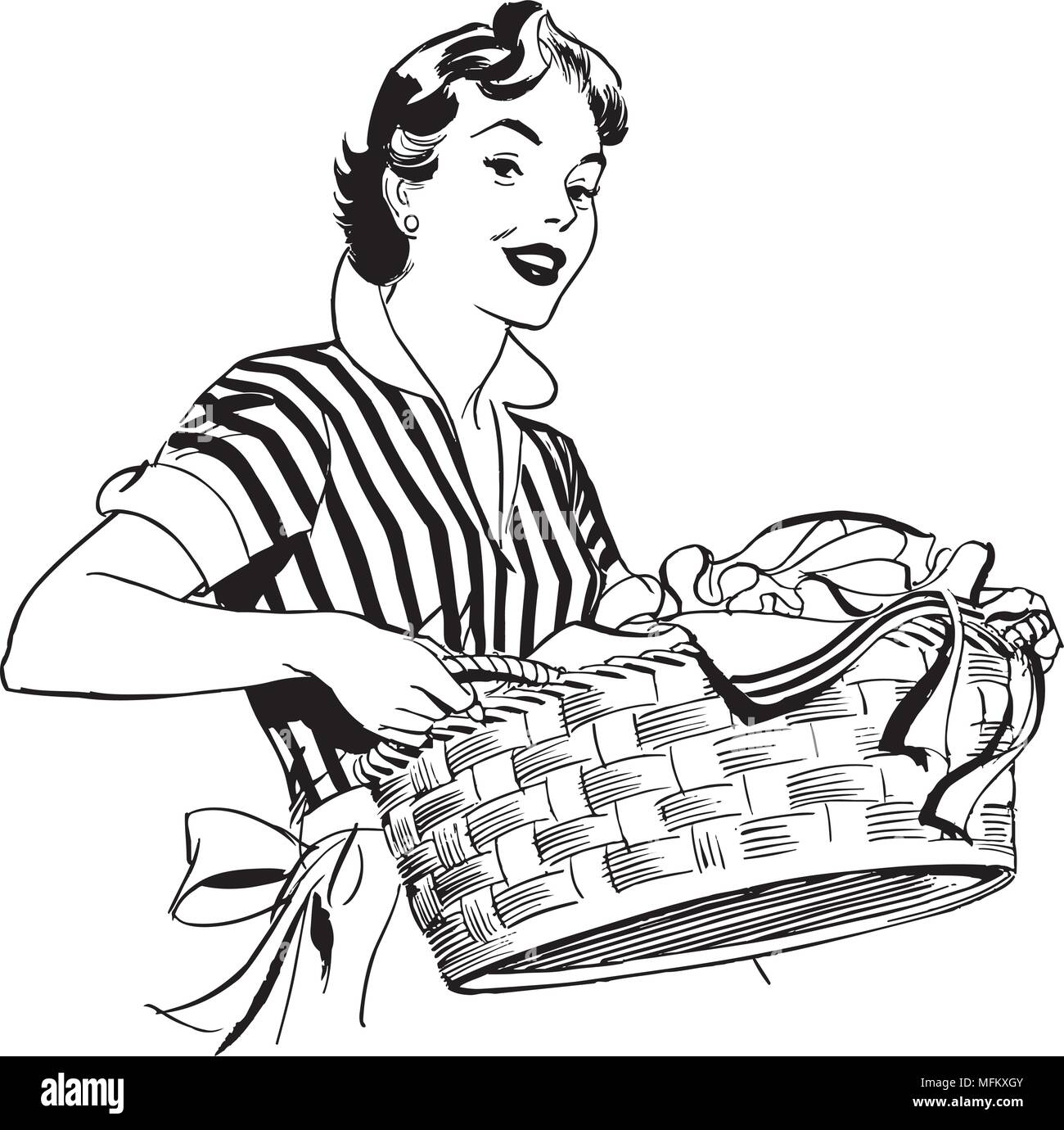hight resolution of lady with laundry basket retro clipart illustration