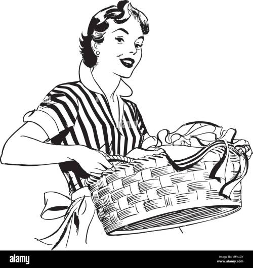 small resolution of lady with laundry basket retro clipart illustration