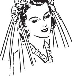 lovely bride retro clipart illustration [ 930 x 1390 Pixel ]