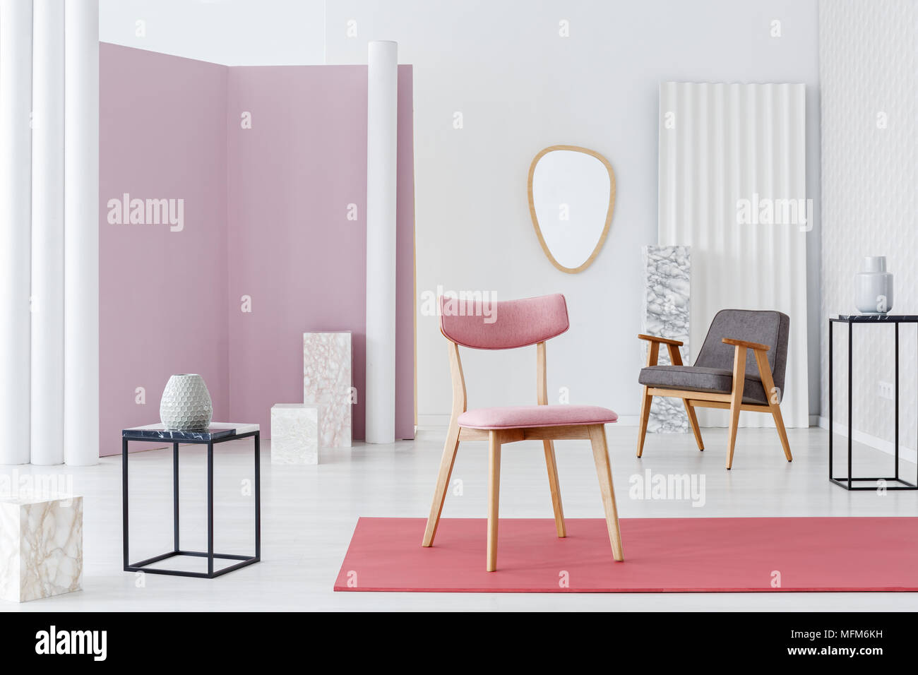 modern armchair design home desk chairs pink upholstered chair and marble cubes decorations in a white classy luxurious living room interior with minimalist