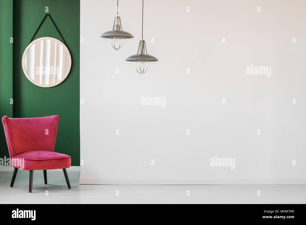 hanging chair in living room best travel high minimalist interior with white empty wall