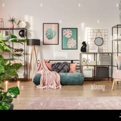 Living Room Mattress Cafe By Eplus %e5%ba%a7%e5%b8%ad%e8%a1%a8 Knot Pillow On A Designer Emerald Green Sofa In Interior With Industrial Furniture Retro Powder Pink Chair And Plants