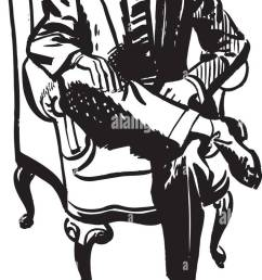 man sitting in armchair retro clipart illustration [ 716 x 1390 Pixel ]