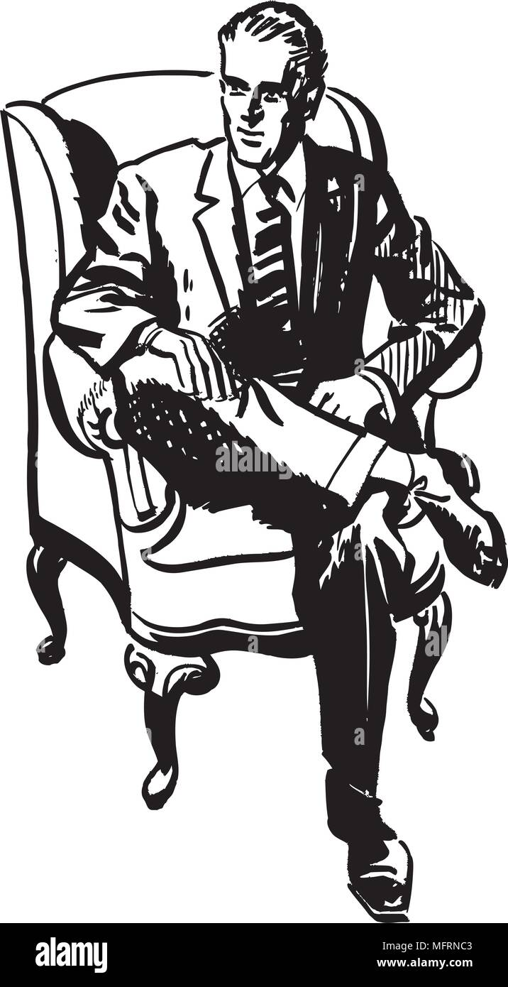 medium resolution of man sitting in armchair retro clipart illustration