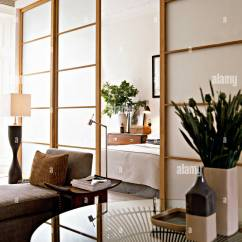 Modern Living Room Setup Small Side Chairs For Sitting Window Japanese Styled Sliding Doors And Partition Wall View Into Bedroom Interiors Rooms Detail Screen Lamp On Plinth Flowers Cer