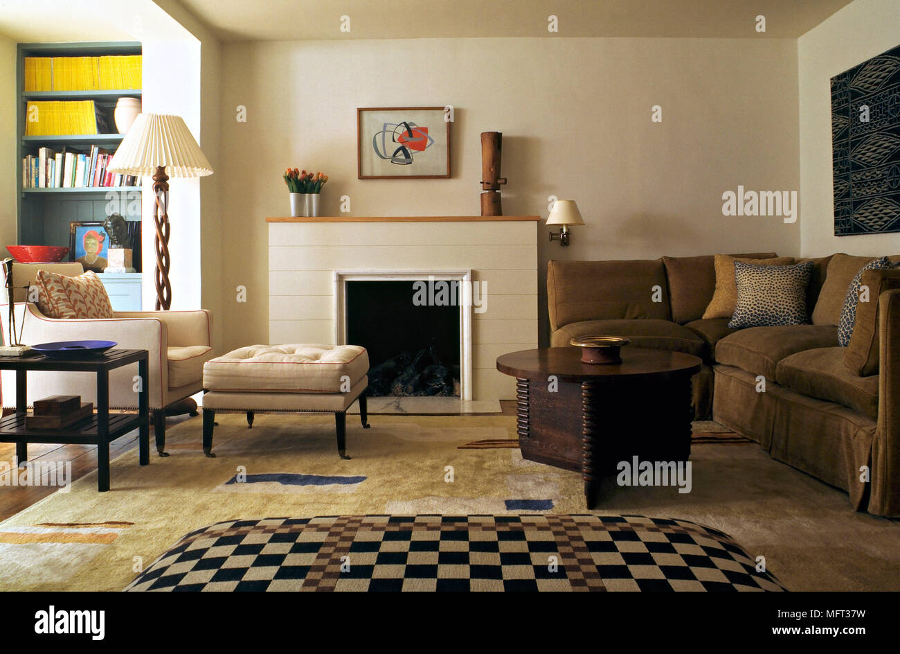 retro living room coffee table diy shelves in modern sitting fireplace upholstered ottoman corner sofa armchair interiors rooms fireplaces furniture