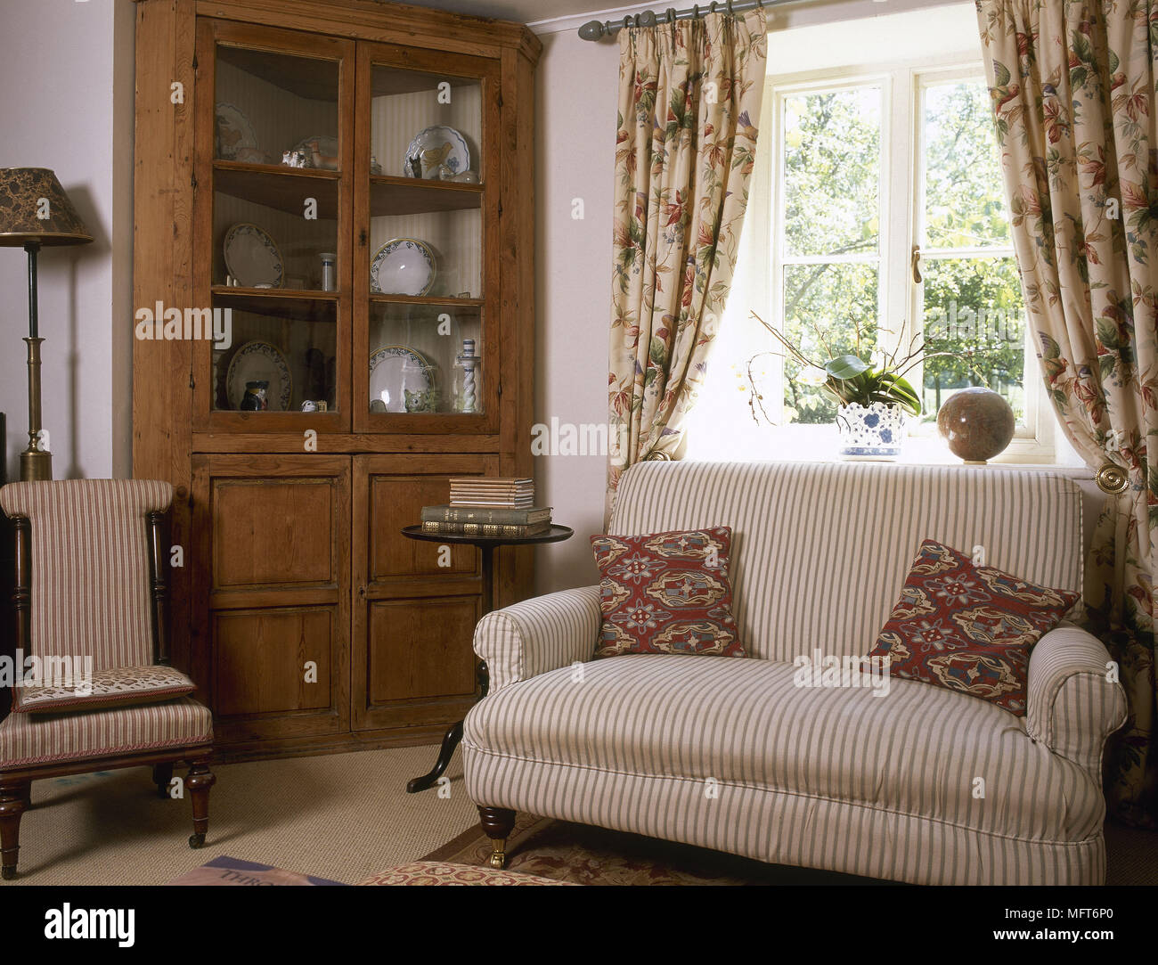 Traditional Country Sitting Room Striped Sofa Floral