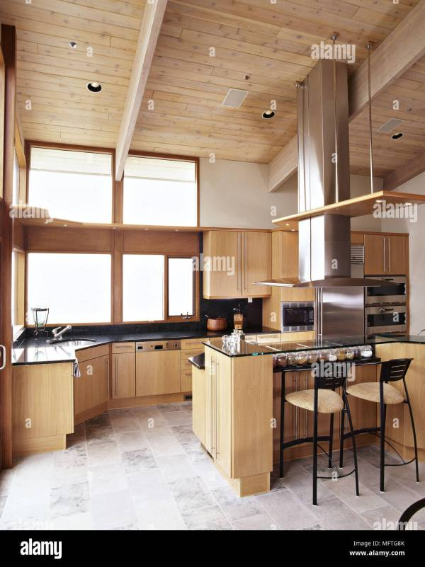 Modern Kitchen Timber Ceiling Wood Units Stainless Steel