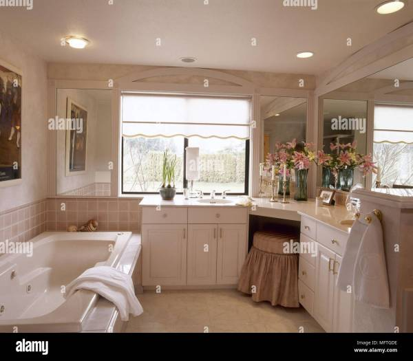 Traditional neutral bathroom built in dressing table whirlpool bath interiors bathrooms baths ...