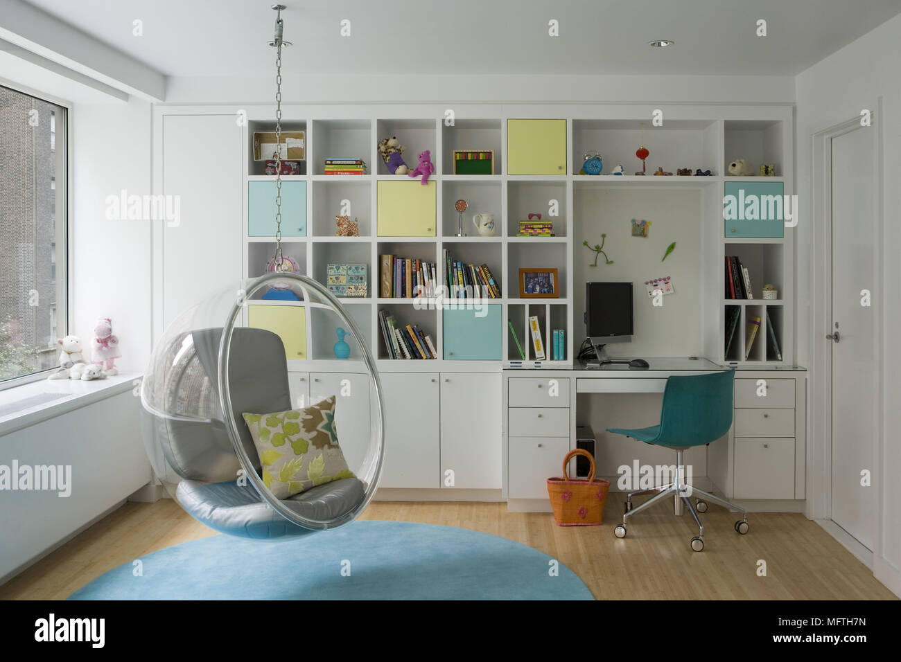 eero aarnio bubble chair boon flair high review in modern home office stock photo