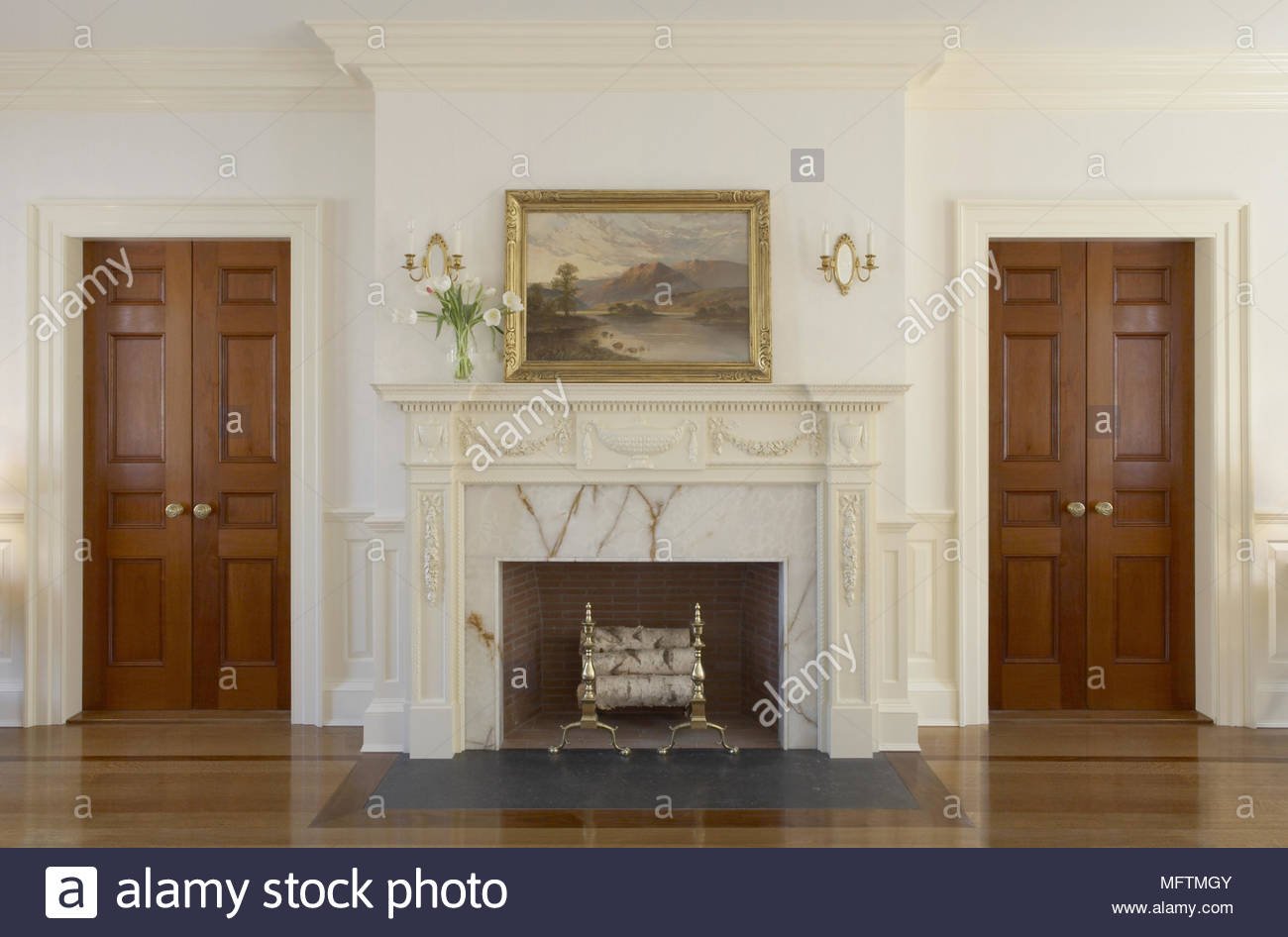 Decorated Christmas Fireplace On A Brick Wall Stock Photo Image Traditional Fireplace Stock Photos & Traditional Fireplace