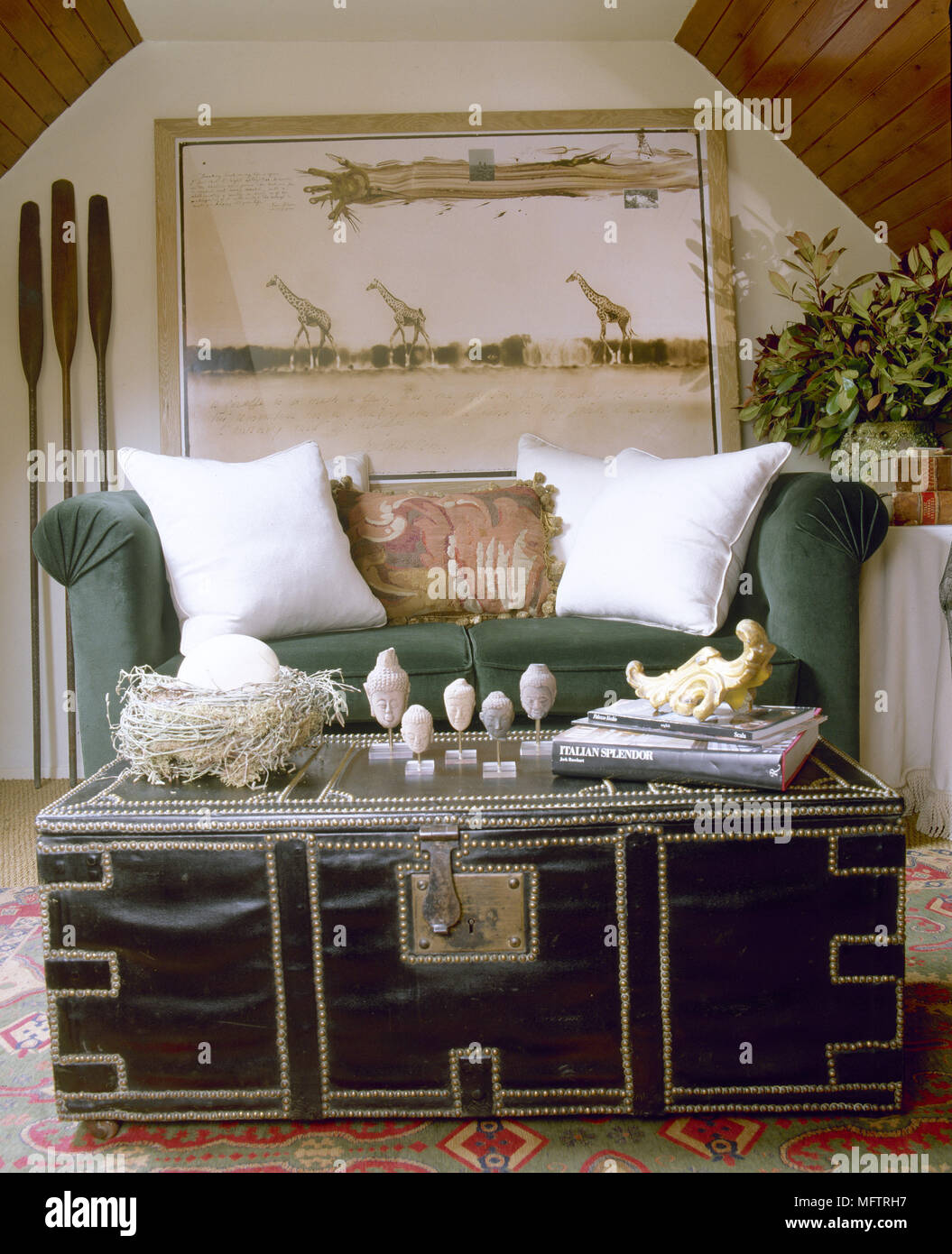 trunk coffee table living room furniture traditional pictures for exotic sitting with a sloping wood panelled ceiling sofa and safari artwork