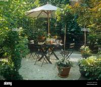 Garden Table Chairs Parasol Stock Photos & Garden Table ...