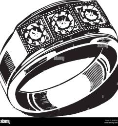 mens wedding ring retro clipart illustration [ 1300 x 1288 Pixel ]