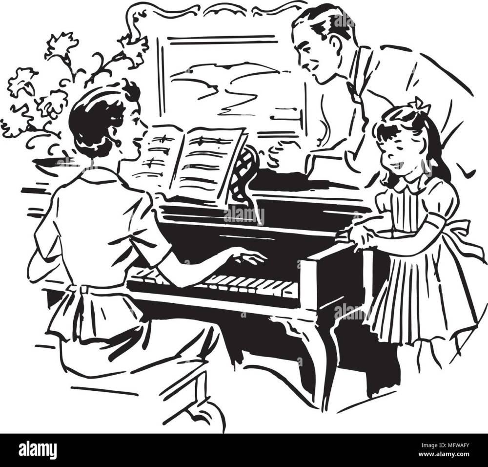 medium resolution of mom playing piano retro clipart illustration