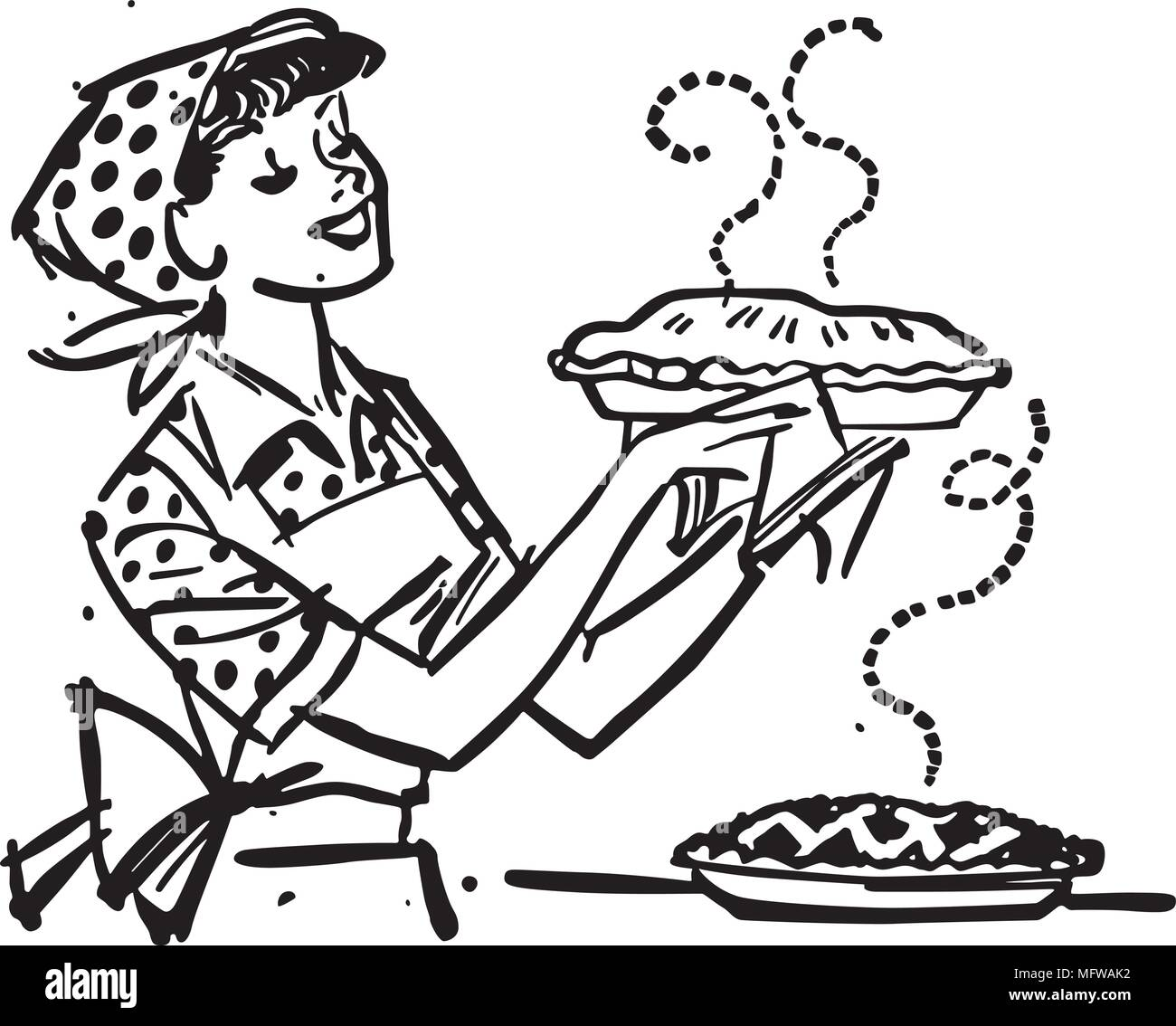 hight resolution of mom with fresh baked pies retro clipart illustration
