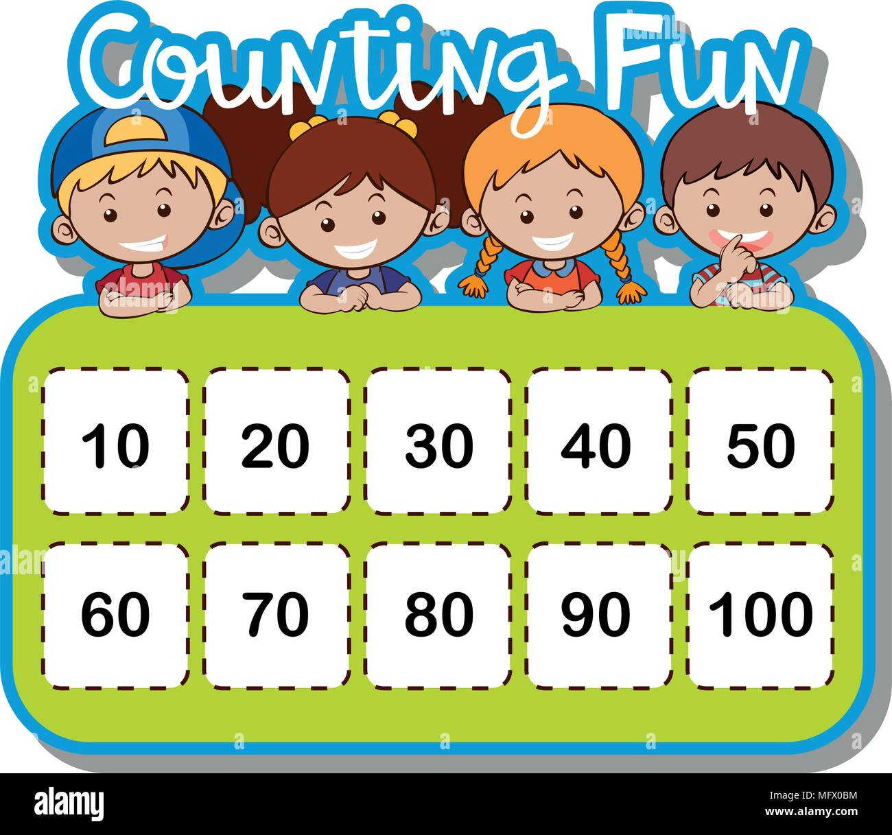 Math Worksheet For Counting Numbers Illustration Stock