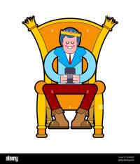Prince on throne. Young King on Royal chair. Vector ...