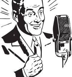 radio announcer 2 retro clipart illustration [ 993 x 1390 Pixel ]