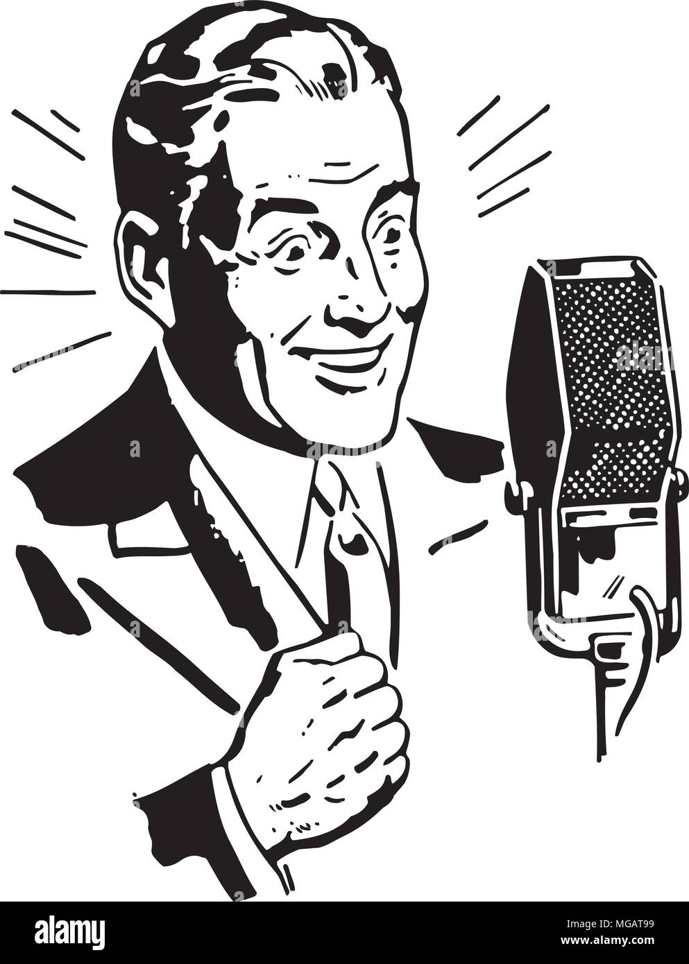 hight resolution of radio announcer 2 retro clipart illustration