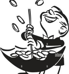raining pennies from heaven retro clipart illustration [ 810 x 1390 Pixel ]