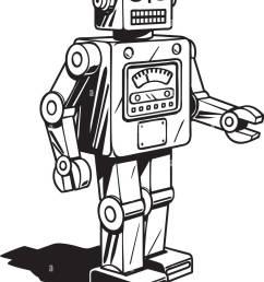 retro robot retro clipart illustration [ 981 x 1390 Pixel ]