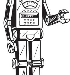 robot man retro clipart illustration [ 692 x 1390 Pixel ]