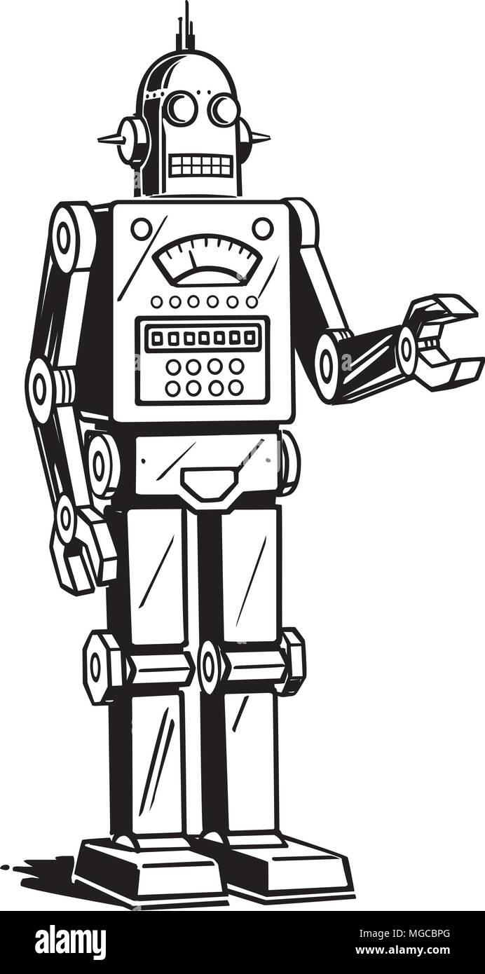 hight resolution of robot man retro clipart illustration