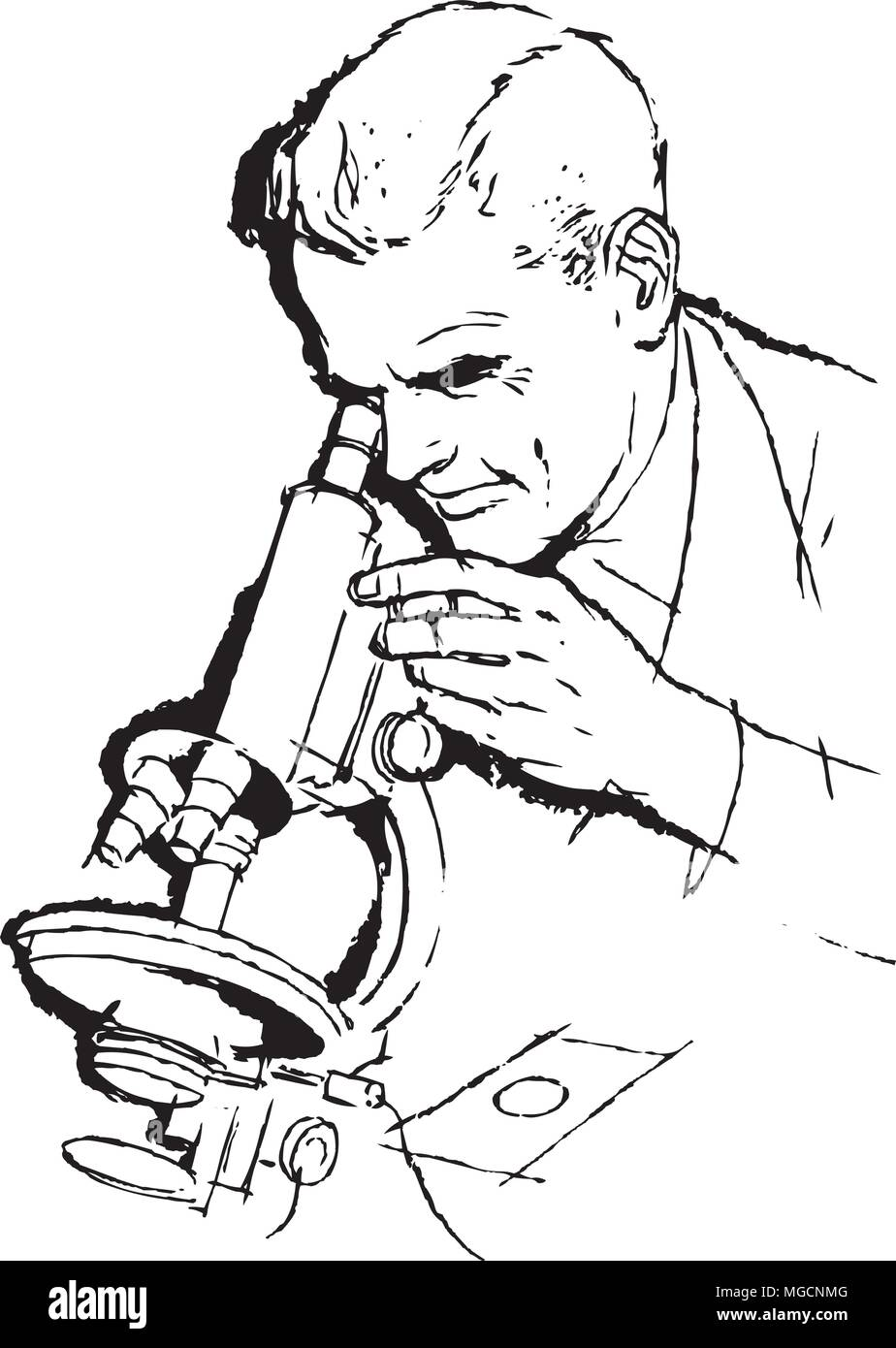 hight resolution of scientist and microscope retro clipart illustration