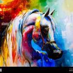 Creative Artwork Acrylic Canvas Paintings Of Horses Stock Photo Alamy
