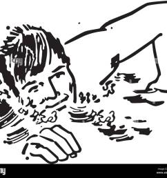 swimmer retro clipart illustration [ 1300 x 1135 Pixel ]