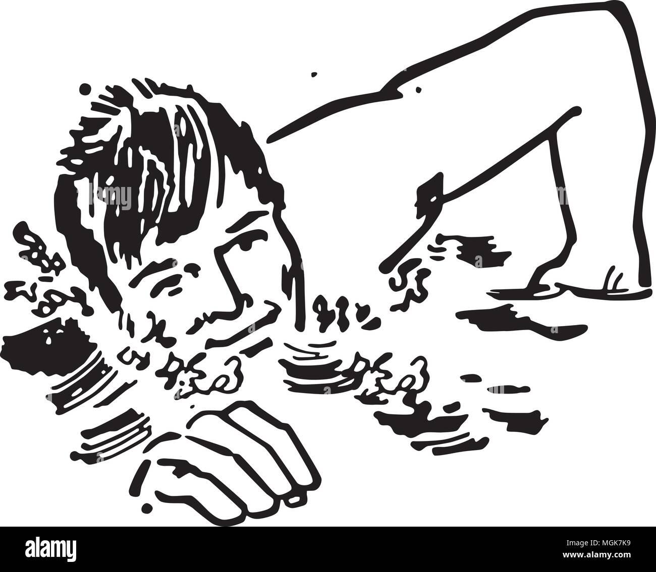 hight resolution of swimmer retro clipart illustration