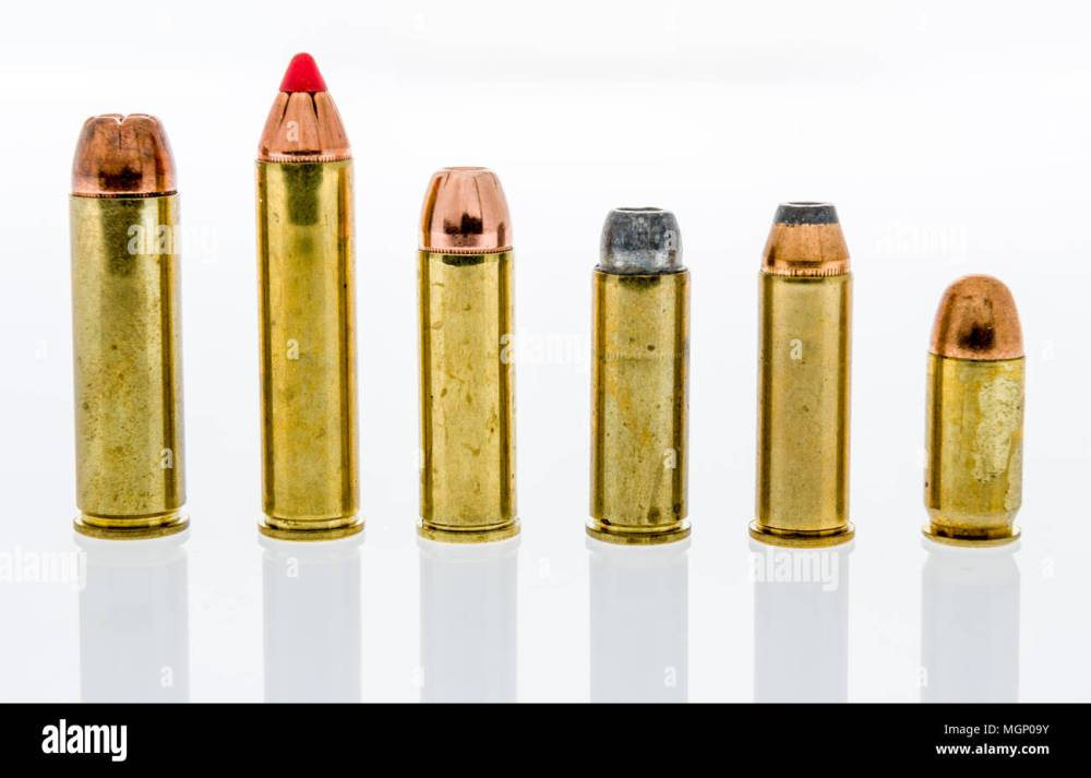 medium resolution of a row and collection of big bore handgun ammunition including 500 and 460 magnum 454