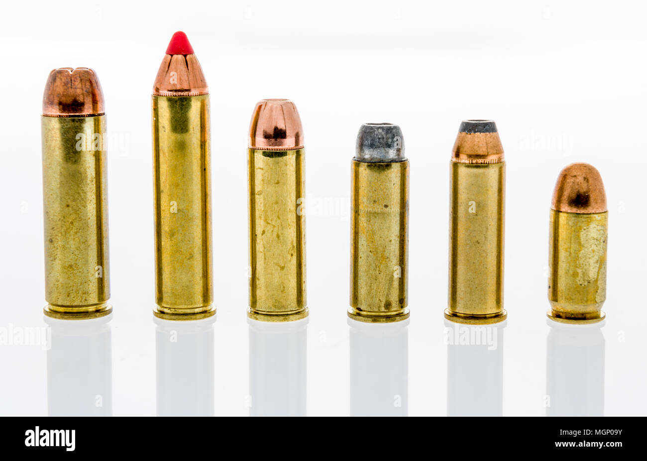 hight resolution of a row and collection of big bore handgun ammunition including 500 and 460 magnum 454