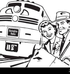 travel by train retro clipart illustration [ 1300 x 1027 Pixel ]