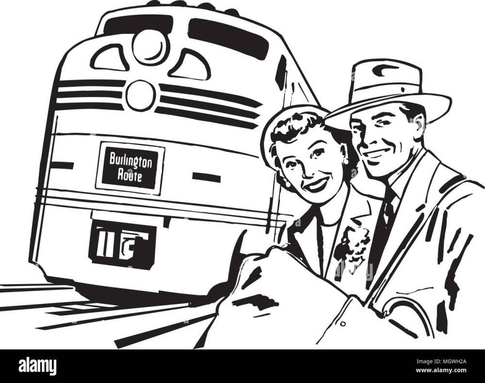 medium resolution of travel by train retro clipart illustration