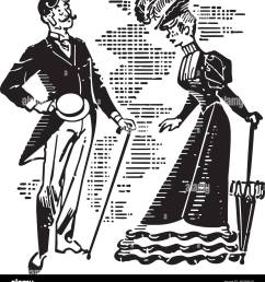 victorian couple courting retro clipart illustration [ 1199 x 1390 Pixel ]